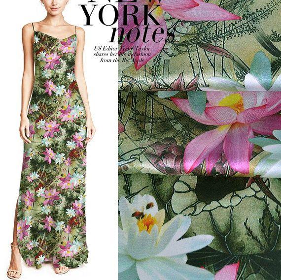 Lotus Floral Print Yellow Green Stretch Silk Satin Fabric