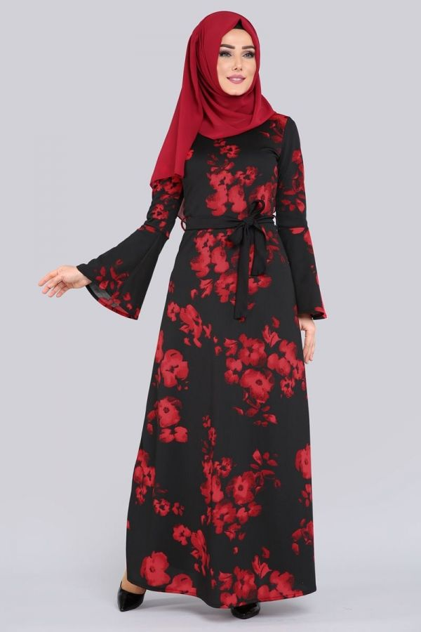 ** YENİ ÜRÜN ** Volan Kol Tesettür Elbise Kırmızı&Siyah Ürün Kodu: MDP5087 --> 44.90 TL