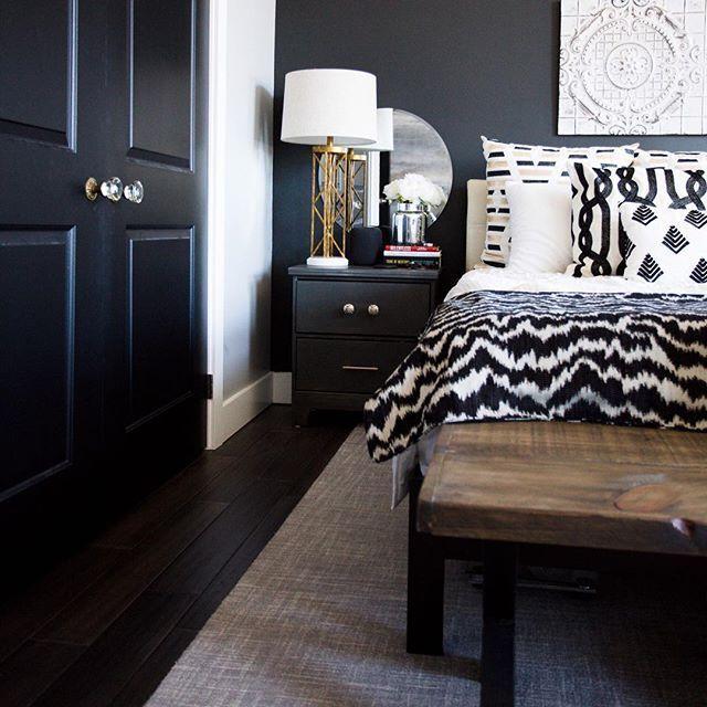 Our Master Bedroom Makeover One Room Challenge Week 06 The Final Reveal Clark Aldine Black Walls Bedroom Master Bedroom Makeover Bedroom Makeover