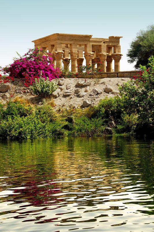 Trajan Kiosk of the Philae Temple Complex on Agilika Island as seen from the Nile River, Egypt