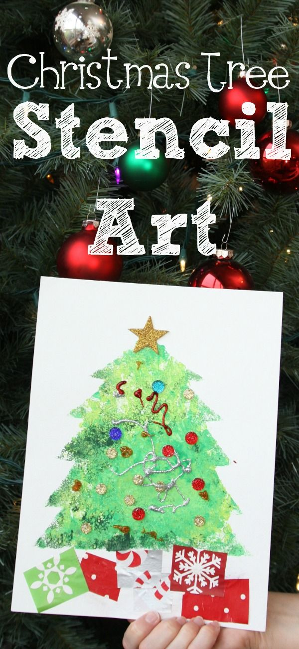 Christmas Crafts Ideas For Toddlers Part - 39: Christmas Tree Stencil Art