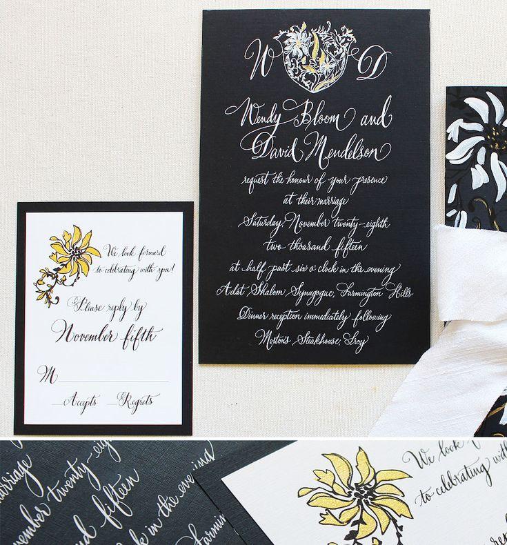 Modern Crest Wedding Invitations Black Tie