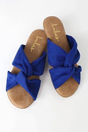 9a97dd23fd Cute Blue Sandals - Flat Sandals - Lace-Up Sandals - Boho Shoes - $22.00