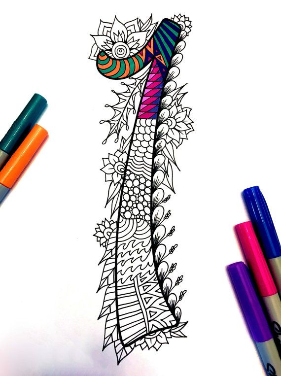 "Number 1 Zentangle - Inspired by the font ""Harrington"""