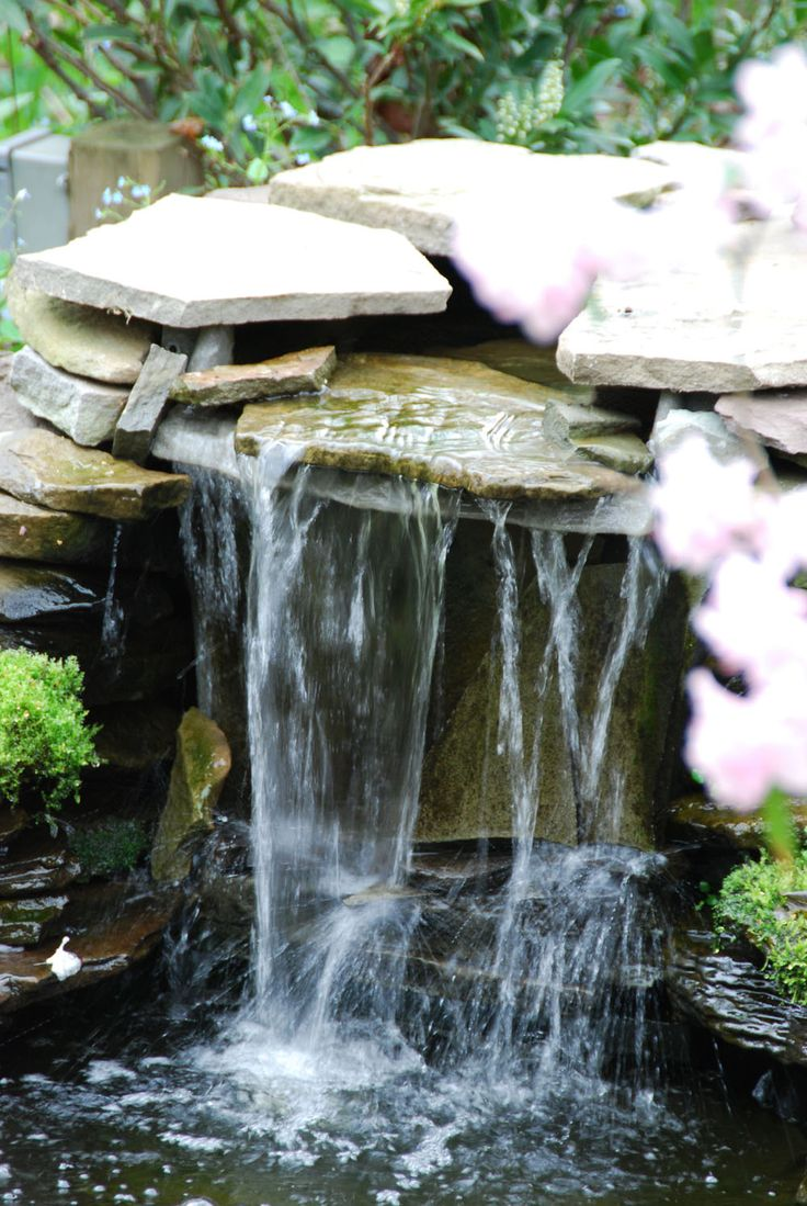 Exterior. Pretty Backyard Waterfall Completing The Ponds And Patio ...