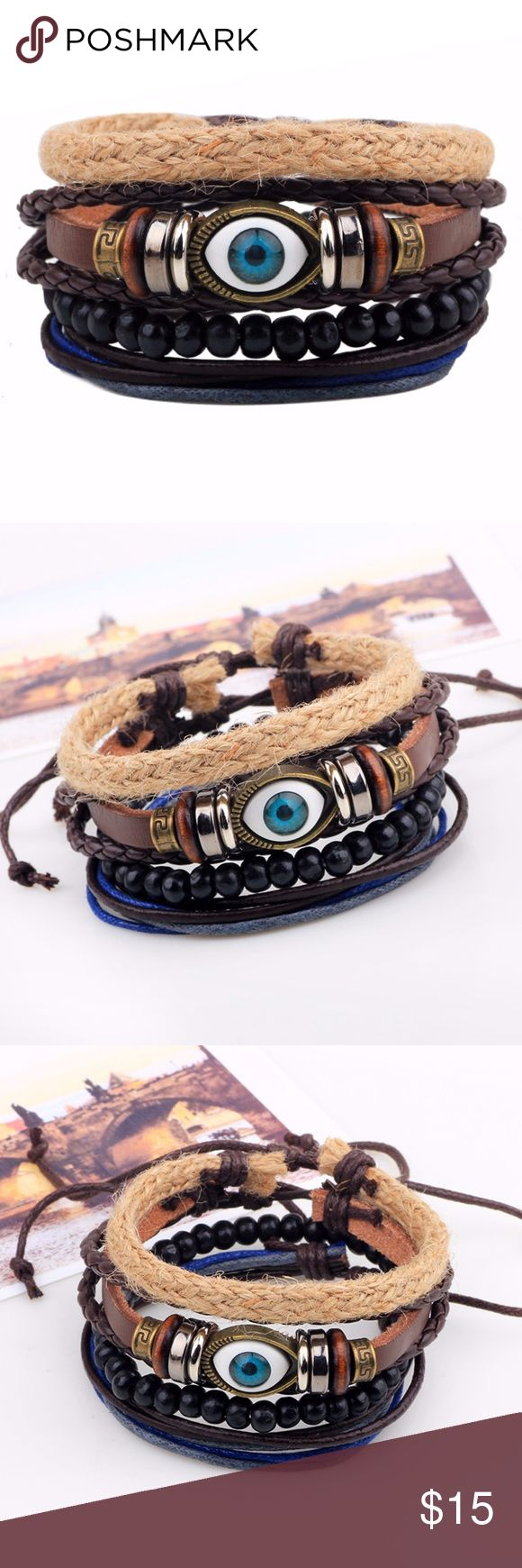 "4 pieces a set Fashion Jewelry Bracelets Evil Eye Assorted Leather Bracelet Braid Hemp Cord Feature: fashion, vintage, handmade  Material: leather, coconut beads, hemp cord, braid belt  Specifications: 2.5"" in dia, 7""-8"" in length, adjustable size  Makes a great gift for friend and family or self purchase Jewelry Bracelets"