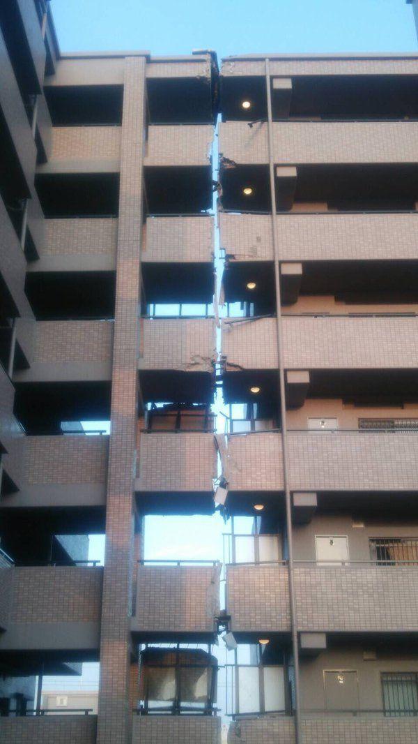 熊本地震で真っ二つに割れたマンション。エキスパンションジョイントと気づいていないフジテレビがハイエナ行為を仕掛ける
