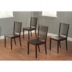 @Overstock - Add some style to your dining room with these espresso, wood, dining room chairs. Each of these high-back, slatted dining chairs is made of rubberwood and come unupholstered. Four chairs come with each set which has a floor-to-seat height of