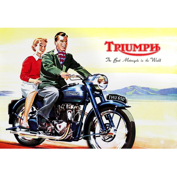 Vintage Triumph Motorcycle advertising custom T-Shirt from 5one2 Designs.