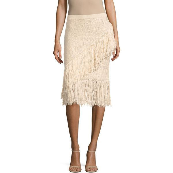 BCBG MaxAzria Women's Varah Cotton Fringe Trimmed Pencil Skirt -... ($89) ❤ liked on Polyvore featuring skirts, medium beige, asymmetrical skirt, panel pencil skirt, pink fringe skirt, beige skirt and beige pencil skirt