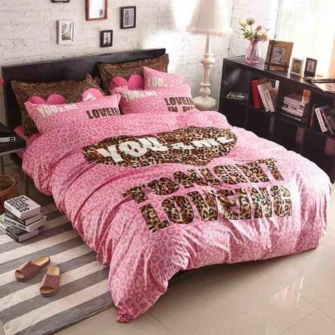 victoria pink velvet pink leopard print bedspread set bedding bed sheets 4pcs leopard fitted sheet set
