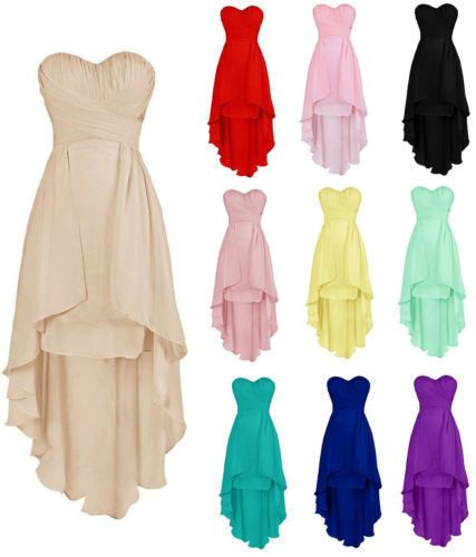 New High Low Bridesmaid Dresses Sweetheart Beach Wedding Party Gowns Plus Size  | eBay
