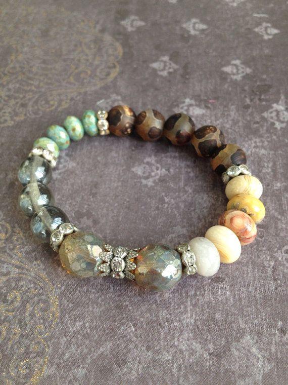 Rustic Semi Precious Beaded Boho Luxe Stretch Stacker Bracelet