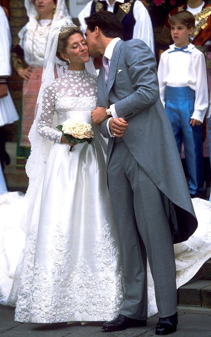 31 best royal wedding gowns images on pinterest royal weddings happy prince pavlos of greeces with his wife marie chantal in her pearl encrusted silky valentino wedding gown 1995 ombrellifo Gallery