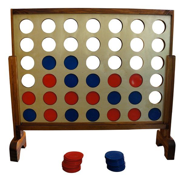 This giant game, however, can be played on the floor indoors or out in the yard. 2 Players (or teams) drop coins in from the top of the board alternating turns trying to get 4 in a row. To win you or your team must be the first to join 4 of your color coins in a row either horizontally, vertically, or diagonally! Simply slide out the wooden bottom bar when finished to release the coins. Store the coins in the game when finished playing.