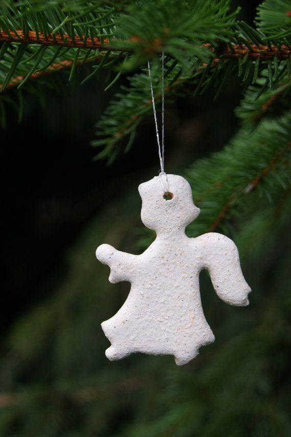 White pearl ceramic angels christmas tree  Christmas decorations by GlinianaKoniczynka
