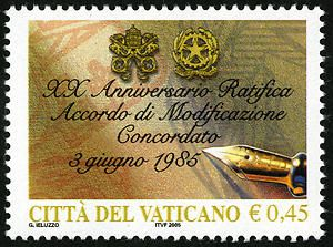 45c Arms of Vatican City, Italy and Pen single