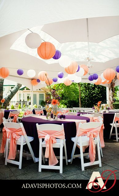 I absolutely love the decor <3  Fun, bright and perfect for spring and summer. Create with our plum and coral table and chair sashes at www.cvlinens.com .  image via http://www.adavisphotos.com/blog/2011/05/03/kaitlin-sam-tent-wedding-with-spring-decor-at-the-sanford-house-part-3/
