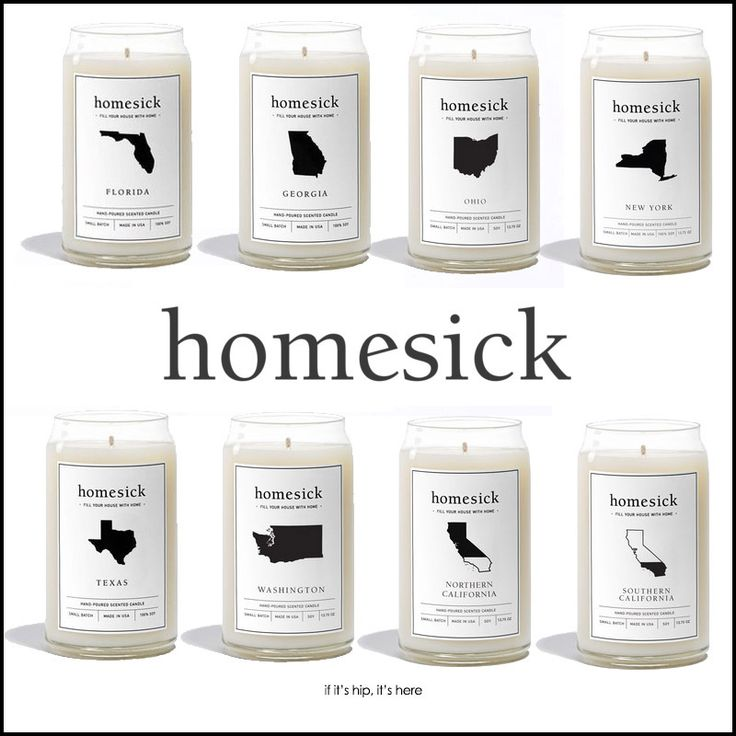 "state-scented homesick candles.   Smells are one of the strongest triggers for memories and emotions. A number of behavioral studies have demonstrated that smells trigger more vivid emotional memories and are better at inducing that feeling of ""being brought back in time"" than images* which is what makes the state-scented Homesick candles a great gift idea."