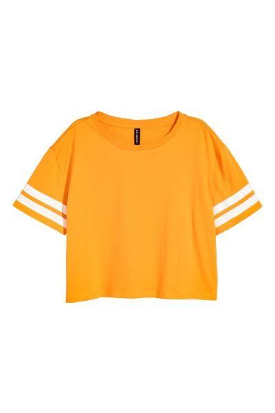 Dżersejowy T-shirt z nadrukiem. Krótki, szeroki fason.
