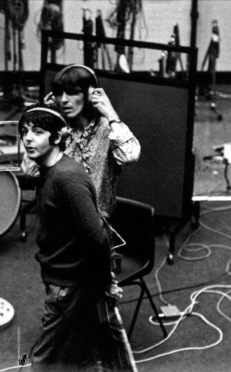 Abbey Road Studios. Paul and George.