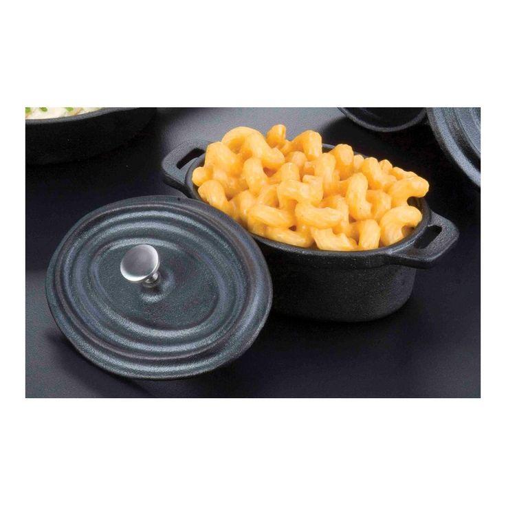"American Metalcraft CIPOV63 5"" x 3 1/2"" Oval Cast Iron Individual Serving Casserole Dish"