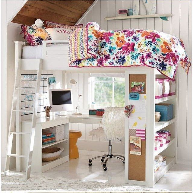 Kids loft bed with desk under it