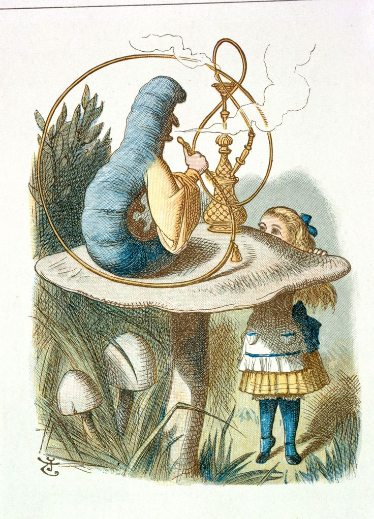 """Alice meets the Caterpillar""Illustration for fifth chapter by Sir John Tenniel, 1865 coloured and enlarged in the Nursery Alice edition of 1890"