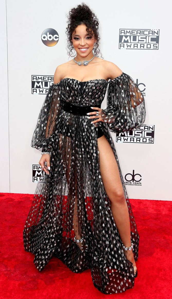 AMAs 2016 Best Dressed on the Red Carpet - Tinashe in black sheer Michael Costello dress
