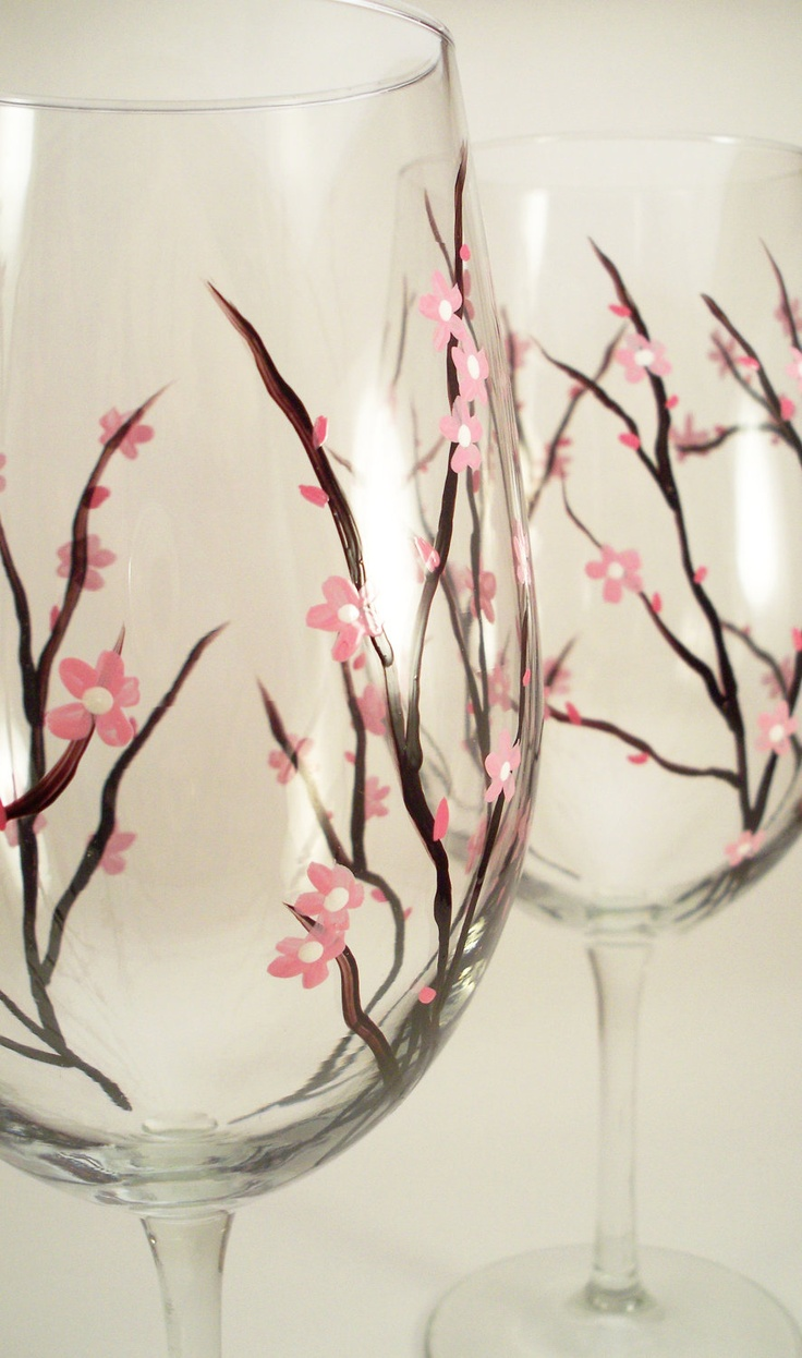 Hand Painted Wine Glasses, Pink Cherry Blossoms, Large Painted Wine Glasses,  Cherry Blossom Glasses   Set Of 2