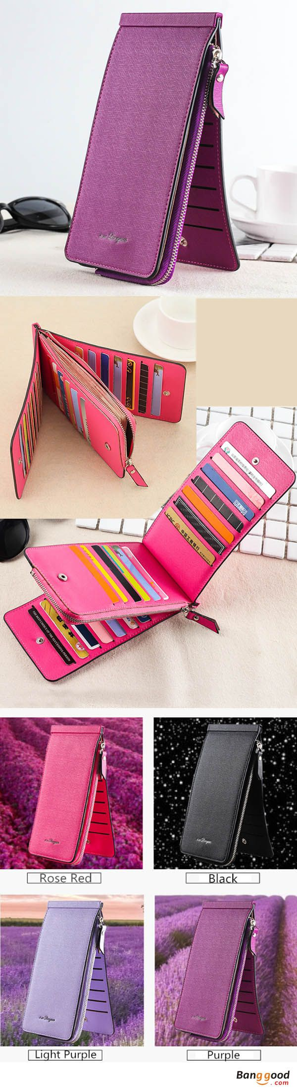 Women Men 26 Multi Card Holder Ultra Thin PU Leather Zipper Business Card Case 5.5'' Phone Bags.  26 Card Holder, 5.5'' Phone, Cash, Coin, etc. Women's phone bags, bags for iPhone, card case, card holder,  bags and purses. Get the look!