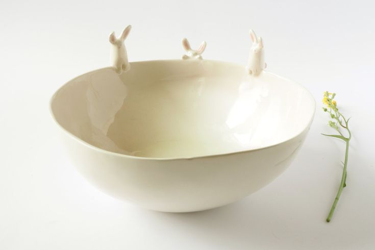 Ceramic Bunny Maxi Bowl Handmade White Italian di TramaiCeramics