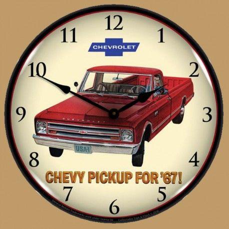 Horloge lumineuse r tro clair chevrolet camion pickup 1967 vintage trucks pinterest for Horloge lumineuse
