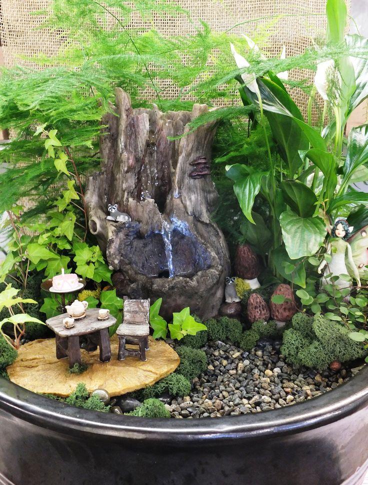 Indoor Fairy Garden Ideas fairy garden container ideas Fairy Garden With Fountain From Wights