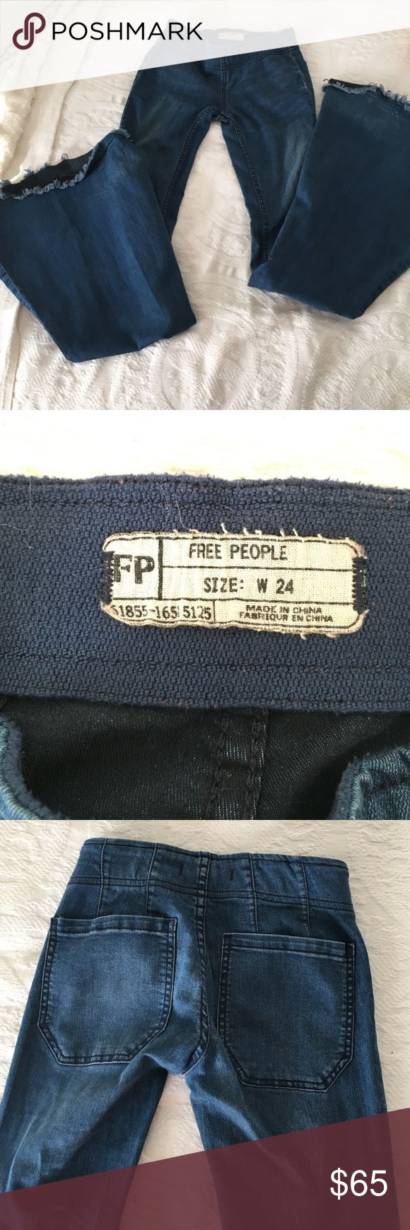 Free People super flare jeans. Size 24 Free People super flare jeans. Size 24. Fits tight through legs and flares at the bottom. Hardly ever worn, in great condition. Elastic waist band. Free People Jeans Flare & Wide Leg