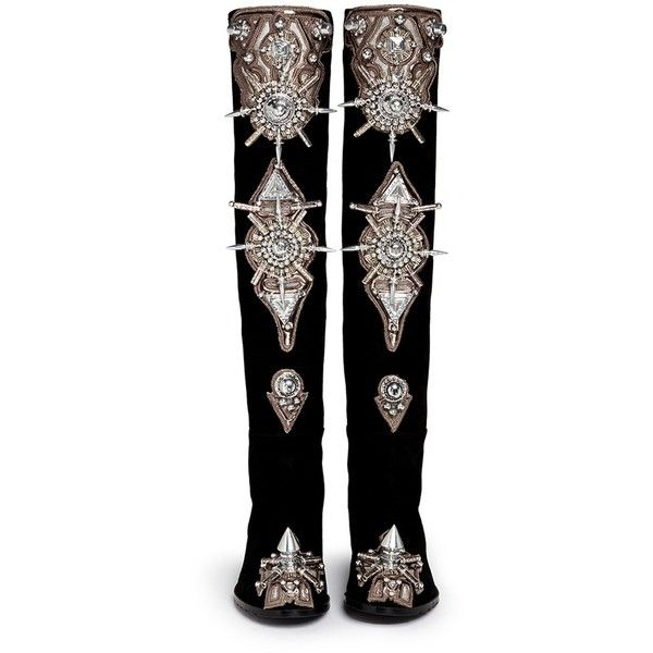 STUART WEITZMAN x KTZ for BLITZ '5050' spike suede boots (2,985 BAM) ❤ liked on Polyvore featuring shoes, boots, tribal shoes, suede leather shoes, embellished boots, embellished shoes and suede leather boots