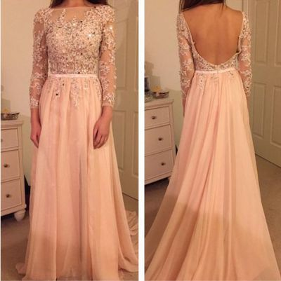 long Prom Dress, blush pink Prom Dress, backless Prom Dress, long sleeves prom…