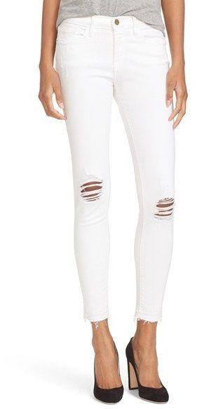 Women's Frame Distressed Release Hem Skinny Jeans