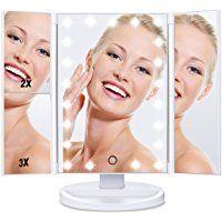 [Regalo] HAMSWAN Espejo de Maquillaje Tríptico de Pantalla Táctil con Aumentos 1x, 2x, 3x y Iluminacíon 21 Led Carga con USB o Batería Ajustable 180º Plegable Espejos Cosmético Espejos Maquillaje