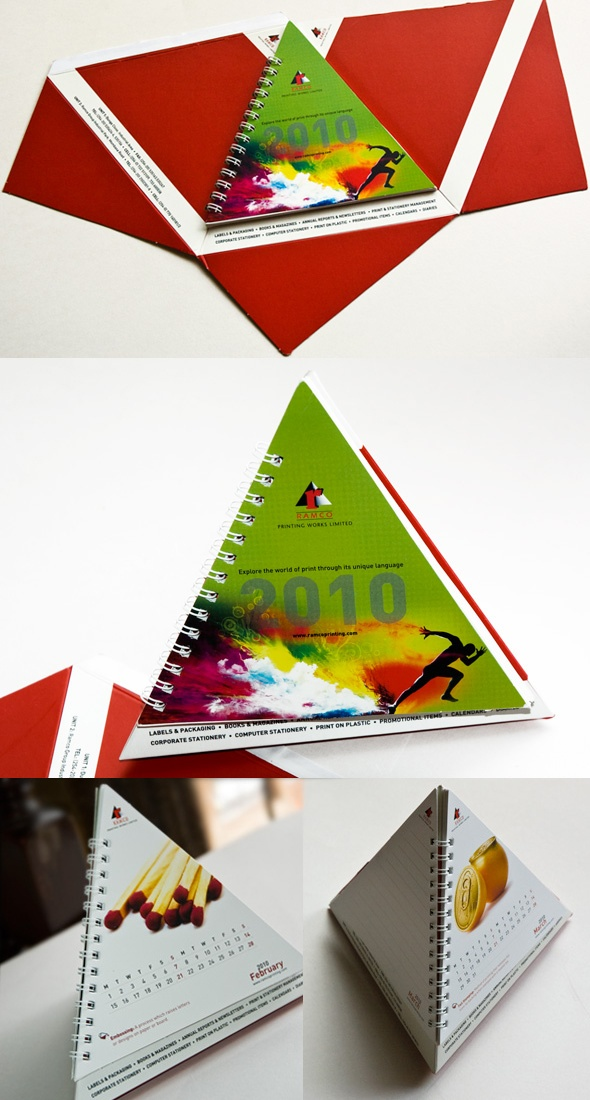 Triangular desk calendar