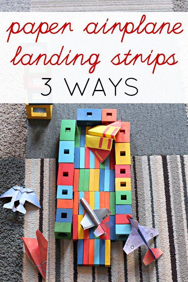 3 fun DIY paper airplane landing strips for indoor games.