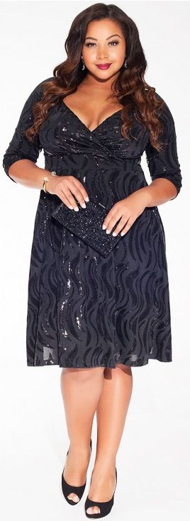 Want!  Beautiful plus size cocktail dress with arm-coverage!  Yesss!  Plus Size Sequin Cocktail Party Dress