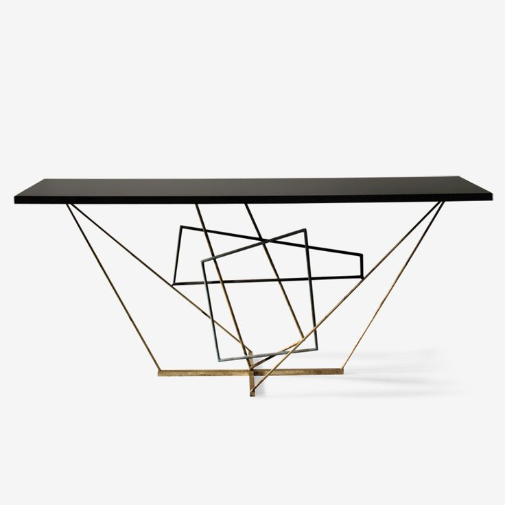 Porta Romana - CCT26, Rhomboid Console Table - Verdigris, Scratched Gold, Fired Copper with Black Lacquer Top