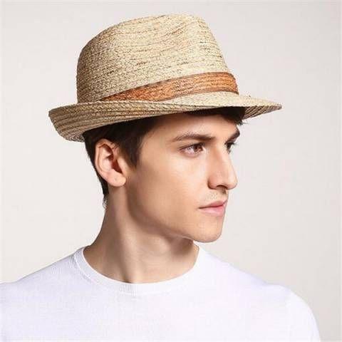 Color block straw panama hat for men handsome sun hats