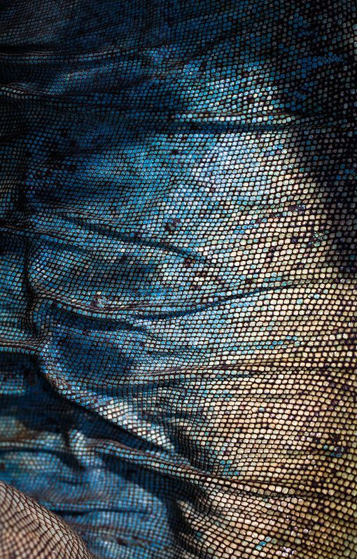 Blue iguana skin is so beautiful, if you could find a similar fabric would make a beautiful long flowing evening dress