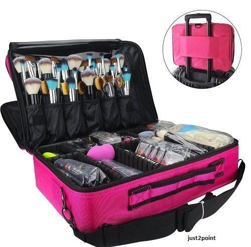 Large Makeup Case Cosmetic Organizer Brush Bag Hair Curler Straightener Holder  #LargeMakeupCase