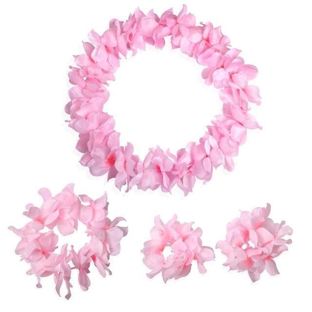 4pcs Cloth hawaiian Party Garland Artificial Necklace Dress Hawaii Flowers leis Party Supplies Beach Wreath DIY Gift Decoration
