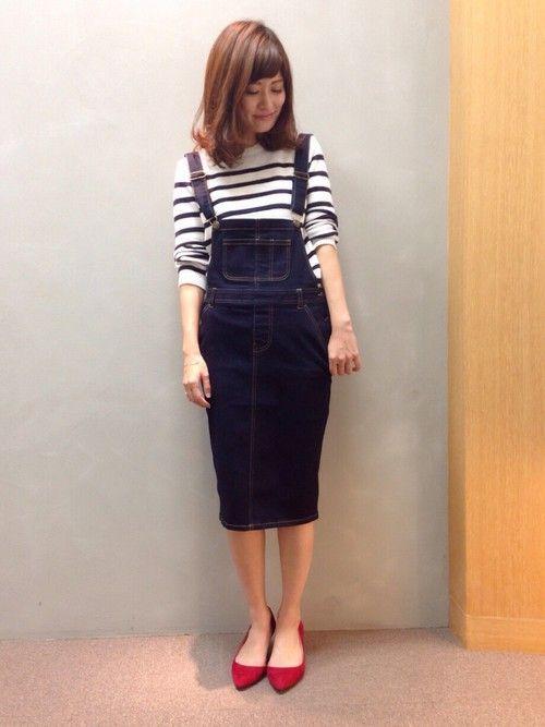 RANDA 本社 | nishiさんのデニムスカート「RANDA デニムタイトスカートサロペット」を使ったコーディネート