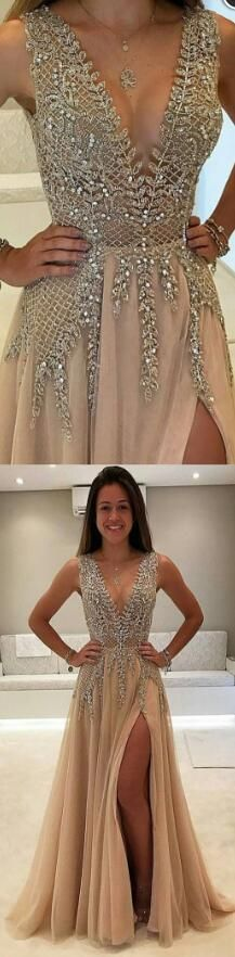 Charming A-Line Split-Front V-Neck Beading Long Prom Dress