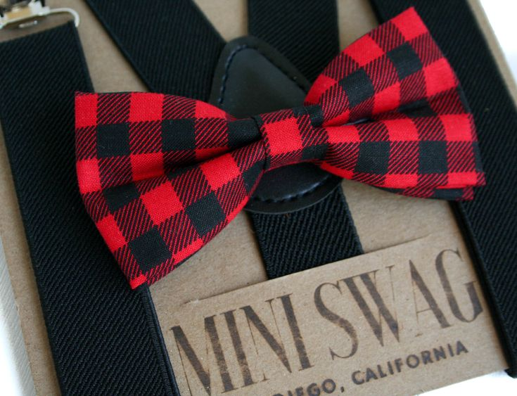 Buffalo Plaid Bow Tie, Boys Christmas Outfit, Toddler Suspenders Black, Holiday Outfits for Boys, Christmas Bow Tie, Baby Bowtie Suspenders by MiniSwagTextiles on Etsy